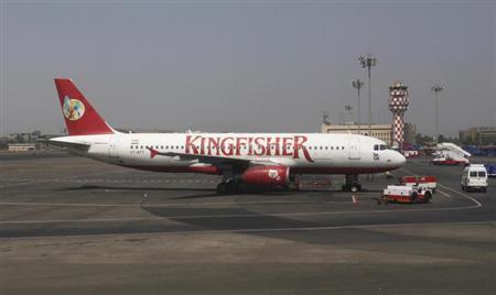 A Kingfisher Airlines aeroplane sits on the tarmac at Chhatrapathi Shivaji International Airport in Mumbai, March 9, 2012. REUTERS/Vivek Prakash/Files