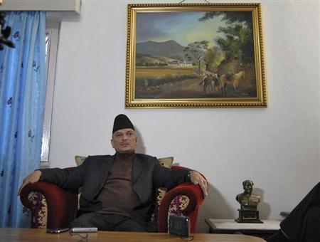 Nepalese Prime Minister Baburam Bhattarai speaks during an interview with Reuters at his residence in Kathmandu November 5, 2012. REUTERS/Rajendra Chitrakar