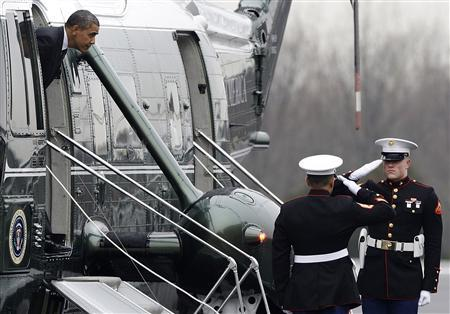 U.S. President Barack Obama arrives via Marine One at Leesburg Executive Airport to delivers remarks nearby at the House Democratic Issues Conference, in Leesburg, Virginia, February 7, 2013. REUTERS/Jonathan Ernst