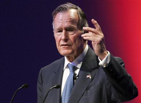 Former U.S. President George H.W. Bush speaks at the World Leadership Summit in Abu Dhabi, United Arab Emirates in this file photo taken November 21, 2006. REUTERS/Stringer
