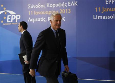 Michel Barnier, European Commissioner for Internal Market and Services, arrival at a European People's Party (EPP) summit in the Cypriot town of Limassol January 11, 2013. REUTERS/Jamal Saidi/Files