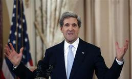John Kerry delivers remarks after being sworn-in as U.S. Secretary of State during a ceremony at the State Department in Washington, February 6, 2013. REUTERS/Jason Reed
