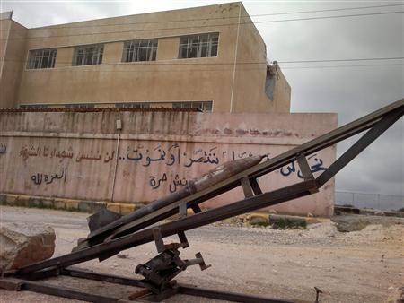 A rocket is seen on a base in Binnish, in Idlib Province, February 7, 2013. REUTERS/Mohamed Kaddoor/Shaam News Network/Handout