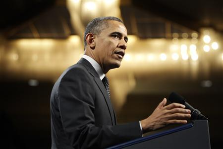 U.S. President Barack Obama speaks during the House Democratic Issues Conference in Lansdowne, Virginia, February 7, 2013. REUTERS/Jonathan Ernst