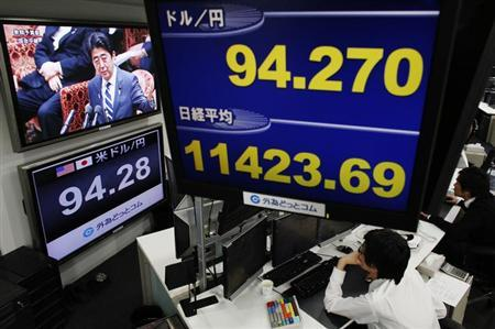 A television screen shows Japan's Prime Minister Shinzo Abe attending the lower house budget committee session at the parliament behind a monitor showing the Japanese yen's exchange rate against the U.S. dollar (top and bottom L) and Nikkei stock average (C) at a foreign exchange trading company in Tokyo February 12, 2013. Japan's Nikkei share average climbed 1.9 percent on Tuesday, boosted by financials after a U.S. Treasury official voiced support for Japan's aggressive policies to combat deflation and bolster growth, prompting the yen to soften. REUTERS/Toru Hanai (JAPAN - Tags: POLITICS BUSINESS)