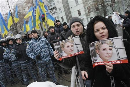 Ukrainian opposition supporters hold pictures of jailed former Prime Minister Yulia Tymoshenko during a rally in support of Tymoshenko near the presidential administration building in Kiev, January 21, 2013. REUTERS/Gleb Garanich