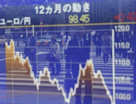 A man is reflected in a board showing the graph of the change of the exchange rate between the Euro and Japanese Yen for the last 12 months outside a brokerage in Tokyo June 6, 2012. REUTERS/Kim Kyung-Hoon (JAPAN - Tags: BUSINESS) - RTR33652