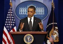 Foto de arquivo do presidente norte-americano, Barack Obama, ao discursar na Casa Branca, em Washington. Obama faz nesta terça-feira seu discurso anual do Estado da União de olho no calendário político, quando ele corre contra o tempo para aprovar medidas que definam seu legado na Casa Branca. 05/02/2013 REUTERS/Kevin Lamarque