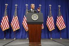El presidente de Estados Unidos, Barack Obama, durante una conferencia de prensa en Lansdowne, EEUU, feb 7 2013. El presidente de Estados Unidos, Barack Obama, tiene pensado emitir una esperada orden ejecutiva para mejorar las defensas del país contra los ciberataques que podría darse a conocer a partir del miércoles, según fuentes familiarizadas con el tema. REUTERS/Jonathan Ernst