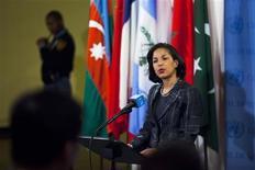 """L'ambassadeur des Etats-Unis à l'Onu, Susan Rice, s'adresse à la presse au siège des Nations Unies à New York. Réuni d'urgence, le Conseil de sécurité de l'Onu a """"condamné fermement"""" la Corée du Nord, qui a procédé mardi à son troisième essai nucléaire depuis 2006. /Photo prise le 12 février 2013/REUTERS/Eduardo Munoz"""