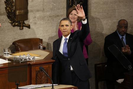 U.S. President Barack Obama waves at the conclusion of his State of the Union speech on Capitol Hill in Washington, February 12, 2013. REUTERS/Jonathan Ernst