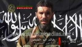 Veteran jihadist Mokhtar Belmokhtar speaks in this file still image taken from a video released by Sahara Media on January 21, 2013. REUTERS/Sahara Media via Reuters TV/Files