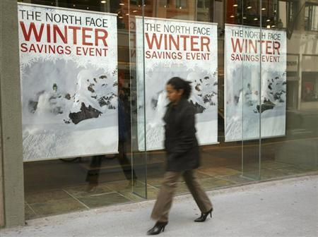 A pedestrian walks past a North Face retail store in San Francisco, California February 10, 2009. REUTERS/Robert Galbraith