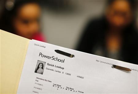 Eleven year-old Laritza Villanueva's paperwork is shown as she receives help on her charter school application at the Barrio Logan College Institute in San Diego , California, February 7, 2013. REUTERS/Mike Blake