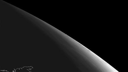 A handout image from the SEVIRI instrument aboard Meteosat-10 geostationary satellite of EUMELSAT shows the vapour trail left by the meteor that was seen near Chelyabinsk in Russia February 15, 2013. REUTERS/Copyright 2013 EUMETSAT/Handout