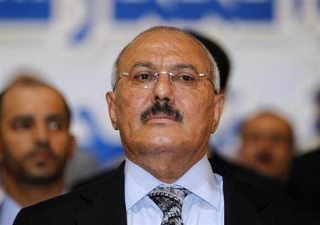 Yemen's former President Ali Abdullah Saleh attends a ceremony marking the 30th anniversary of the establishment of the General People's Congress party, which he is leading, in Sanaa September 3, 2012. REUTERS/Khaled Abdullah
