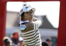 Lydia Ko of New Zealand plays her tee shot on the first hole during the second round of the British Women's Open Golf tournament at Royal Liverpool Golf Club, northern England, September 15, 2012. REUTERS/Nigel Roddis
