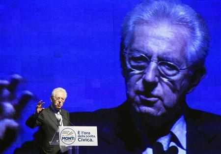 Italy's outgoing Prime Minister Mario Monti speaks during a meeting in Rome February 15, 2013. REUTERS/ Remo Casilli