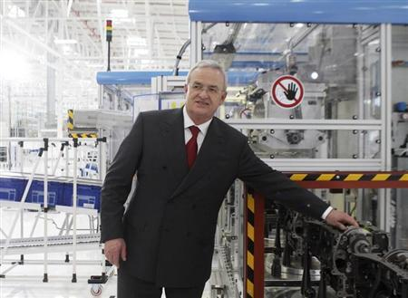 Volkswagen Chief Executive Martin Winterkorn poses for a photograph during the inauguration of Volkswagen's 100th plant worldwide in Silao January 15, 2013. REUTERS/Mario Armas/Files