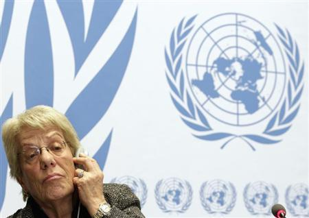 Member of the Commission of Inquiry on Syria Carla del Ponte listens during a news conference at the United Nations European headquarters in Geneva February 18, 2013. Syrians in ''leadership positions'' who may be responsible for war crimes have been identified, along with units accused of perpetrating them, United Nations investigators said on Monday. REUTERS/Denis Balibouse (SWITZERLAND - Tags: POLITICS) - RTR3DY2Y