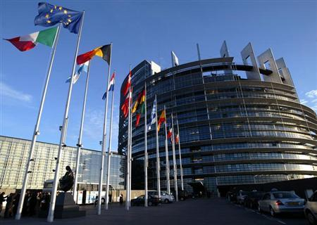 File picture shows European Union member states' flags flying in front of the building of the European Parliament in Strasbourg, April 21, 2004. The European Union won the Nobel Peace Prize on Friday for its long-term role in uniting the continent after World War Two in an award that plays down the euro zone's current debt crisis.REUTERS/Vincent Kessler/File (FRANCE - Tags: POLITICS)
