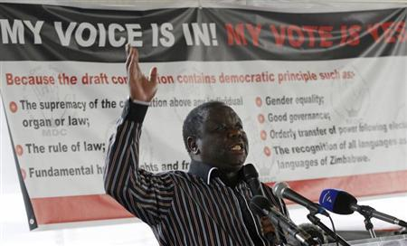 Zimbabwe's Movement for Democratic Change (MDC) leader and Prime Minister Morgan Tsvangirai speaks in support for the country's draft constitution in Harare September 8, 2012. REUTERS/Philimon Bulawayo