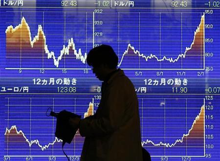 A man walks past an electronic board showing the graphs of exchange rates between the Japanese yen and the U.S. dollar outside a brokerage in Tokyo February 15, 2013. REUTERS/Toru Hanai