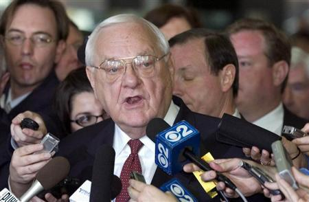 Former Illinois Governor George Ryan gives a statement after being found guilty in his corruption trial in the federal court in Chicago in this April 17, 2006 file photo. REUTERS/Stephen J. Carrera/Files