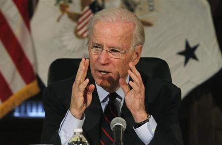 U.S. Vice President Joe Biden makes remarks during roundtable discussion on gun control at Girard College in Philadelphia, Pennsylvania, February 11, 2013. REUTERS/Tim Shaffer