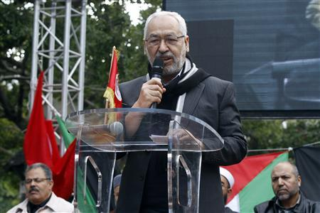 Rached Ghannouchi, leader of the Islamist Ennahda movement, Tunisia's main Islamist political party, speaks during a demonstration in Tunis February 16, 2013. REUTERS/Anis Mili