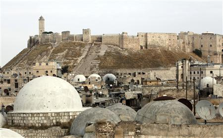The Aleppo castle where pro-government forces are based is seen in the Old Town of Aleppo, in this November 2, 2012 file photo, as clashes continue with the Free Syrian Army. REUTERS/Asmaa Waguih/Files