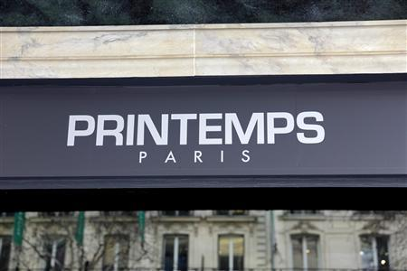 View of a logo on a store window of the Printemps department store in Paris February 20, 2013. RREEF, Deutsche Bank's RREEF real estate investment unit and the Borletti Group are in exclusive negotiations to sell French department store group Le Printemps to Qatari investors for up to 2 billion euros ($2.67 billion), a source close to the talks said. REUTERS/Philippe Wojazer
