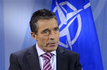 NATO Secretary General Anders Fogh Rasmussen speaks during an interview with Reuters at the Alliance headquarters ahead of a NATO defence ministers meeting in Brussels February 20, 2013. REUTERS/Eric Vidal