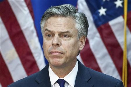 Former Utah Governor Jon Huntsman speaks at the Myrtle Beach Convention Center in Myrtle Beach, South Carolina January 16, 2012. REUTERS/Chris Keane