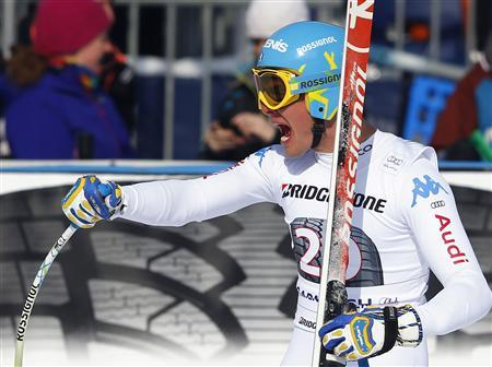 Christof Innerhofer from Italy reacts in the finish area in the men's Downhill ski race at the Alpine Skiing World Cup in Garmisch-Partenkirchen February 23, 2013. REUTERS/Michael Dalder