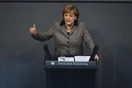 German Chancellor Angela Merkel delivers a policy statement about her government's EU policy during a session of the Bundestag, the lower house of parliament in Berlin February 21, 2013. REUTERS/Thomas Peter