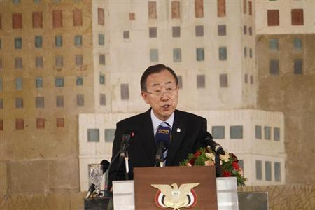 United Nations Secretary General Ban Ki-Moon speaks during a ceremony in Sanaa November 19, 2012. REUTERS/Khaled Abdullah