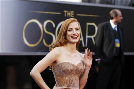 Jessica Chastain, best actress nominee for her role in ''Zero Dark Thirty'', arrives at the 85th Academy Awards in Hollywood, California February 24, 2013. REUTERS/Lucas Jackson