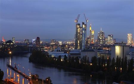 The construction site of the new headquarters of the European Central Bank (ECB) (C) is seen in front of the city's skyline with its banking towers, in Frankfurt, late October 11, 2012. REUTERS/Kai Pfaffenbach (GERMANY - Tags: BUSINESS CITYSPACE TPX IMAGES OF THE DAY) - RTR3916P