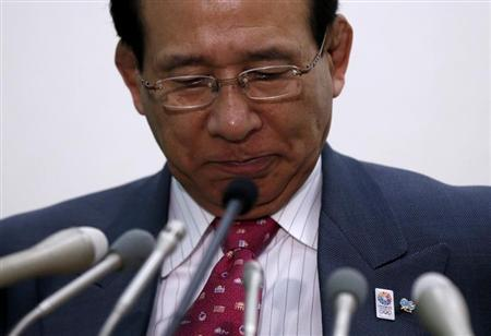 Japan Wrestling Federation president Tomiaki Fukuda attends a news conference in Tokyo February 13, 2013. Wrestling was left in a state of shock after the International Olympic Committee (IOC) made a surprise recommendation on Tuesday to drop the sport from the 2020 Games. REUTERS/Toru Hanai