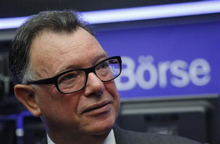 Reto Francioni, CEO of Deutsche Boerse Group, attends the public offering of the German branch of Spanish telecoms giant Telefonica at the Frankfurt Stock Exchange October 30, 2012. REUTERS/Ralph Orlowski