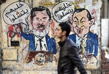 A protester walks past a graffiti during a march at Tahrir Square in Cairo, February 11, 2013. REUTERS/Amr Abdallah Dalsh