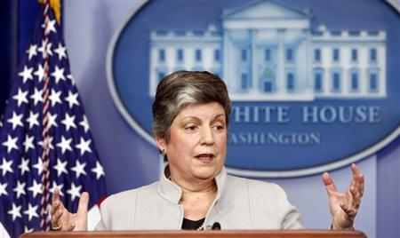 Homeland Security Secretary Janet Napolitano speaks about the effects of the sequester from the White House in Washington February 25, 2013. REUTERS/Kevin Lamarque