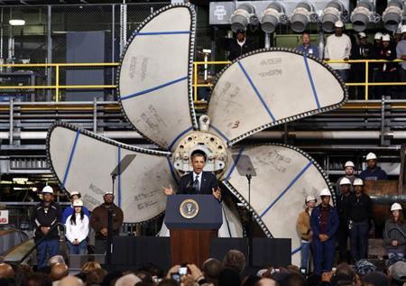 U.S. President Barack Obama speaks at Newport News Shipbuilding in Newport News, Virginia February 26, 2013. REUTERS/Kevin Lamarque