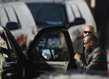 Whitney Houston's ex-husband, Bobby Brown leaves before the start of the funeral service for the pop singer at the New Hope Baptist Church in Newark, New Jersey February 18, 2012. REUTERS/Lucas Jackson
