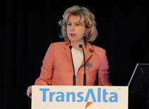 Dawn Farrell, president and CEO of TransAlta, addresses shareholders at the company's annual general meeting in Calgary, Alberta, April 26, 2012. REUTERS/Todd Korol