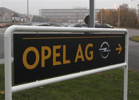 A sign reading 'Opel AG' is pictured at the Opel plant of Bochum October 24, 2012. REUTERS/Ina Fassbender (GERMANY - Tags: TRANSPORT BUSINESS EMPLOYMENT) - RTR39I9P