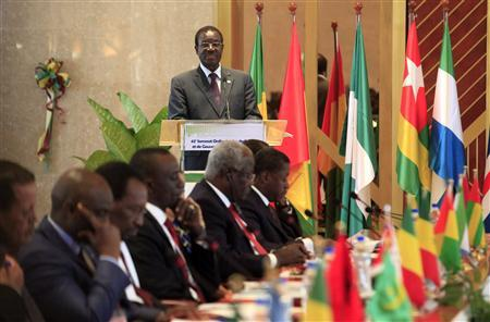Economic Community of West African States (ECOWAS) President Kadre Desire Ouedraogo of Burkina Faso delivers a speech during a summit on the crisis in Mali and Guinea Bissau, at the Fondation Felix Houphouet Boigny in Yamoussoukro February 28, 2013. REUTERS/Thierry Gouegnon