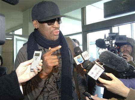 Former NBA star Dennis Rodman speaks to media just before he leaves Pyongyang March 1, 2013 in this picture released by North Korea's KCNA news agency. REUTERS/KCNA