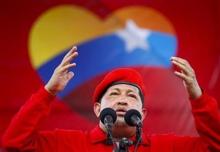 Venezuela's President Hugo Chavez speaks during a rally in Maracay, some 100 km (62 miles) west of Caracas July 1, 2012. REUTERS-Carlos Garcia Rawlins